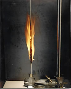 EN 50265-2-1 and IEC 60332-2-1 vertical burn test